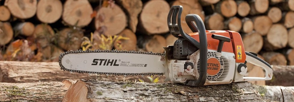 Pleasant Valley, Canada - October 1, 2009: Stihl is a German manufacturer of chainsaws and other power equipment. They are the world's best-selling brand of chain saws.